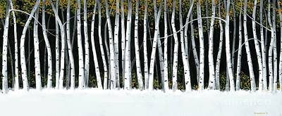 Poster featuring the painting Winter Aspens II by Michael Swanson