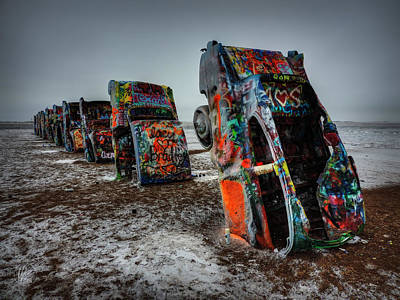 Winter At Cadillac Ranch 001 Poster by Lance Vaughn