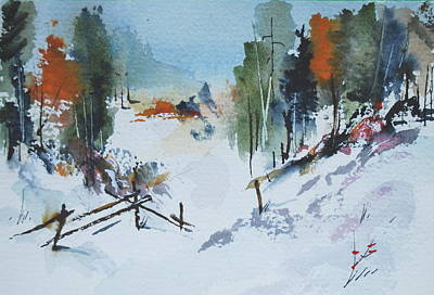 Winter At Marble Farm Poster by Wilfred McOstrich