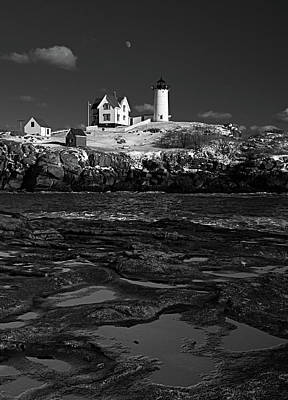Winter At Nubble Lighthouse Bw Poster