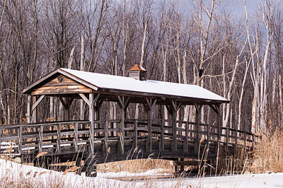 Winter At The Covered Bridge Poster