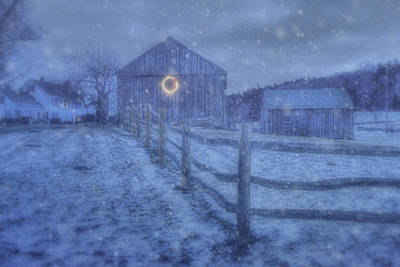 Winter Barn In Snow - Vermont Poster by Joann Vitali
