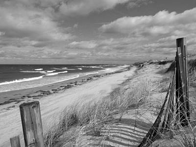 Winter Beach View - Black And White Poster by Dianne Cowen