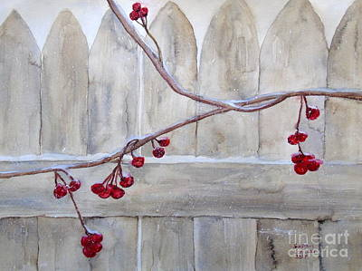 Winter Berries Watercolor Poster