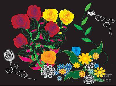 Poster featuring the digital art Winter Bouquet by Kim Prowse