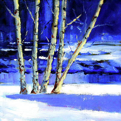 Poster featuring the painting Winter By The River by Nancy Merkle