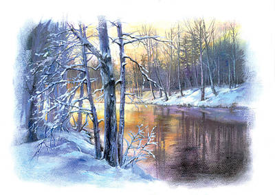 Winter By The River Poster by Zorina Baldescu