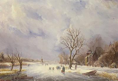 Winter Canal Scene Poster by Jan Lynn