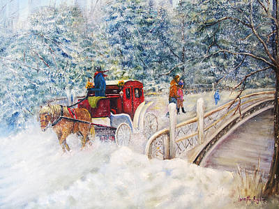 Winter Carriage In Central Park Poster