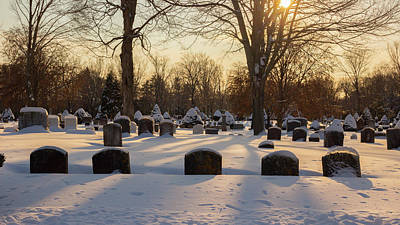 Poster featuring the photograph Winter Cemetery  by Kirkodd Photography Of New England