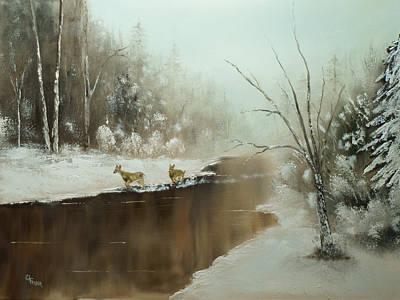 Winter Deer Run Poster