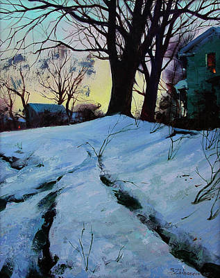 Poster featuring the painting Winter Evening Lights by Sergey Zhiboedov