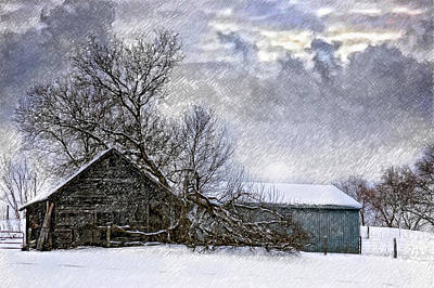 Winter Farm Poster by Steve Harrington