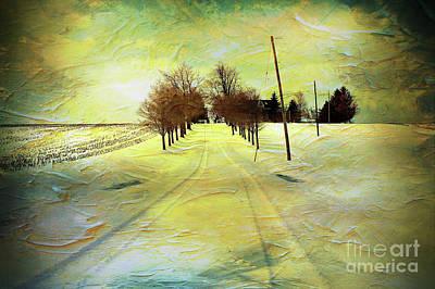 Winter Farm Tracks Poster by Anthony Djordjevic