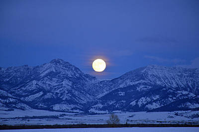Winter Full Moon Over The Rockies Poster