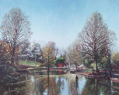 Poster featuring the painting Winter Hilliers Garden Hampshire by Martin Davey