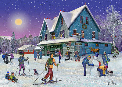 Winter In Campton Village Poster by Nancy Griswold