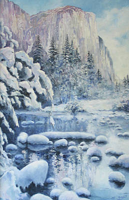 Poster featuring the painting Winter In El Capitan by Tigran Ghulyan