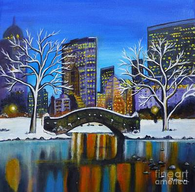 Winter In New York- Night Landscape Poster