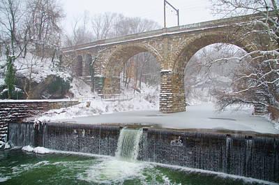 Winter In Philadelphia - Wissahickon Creek Waterfall Poster by Bill Cannon
