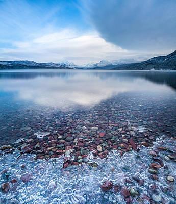 Winter Lake Rocks // Lake Mcdonald, Glacier National Park  Poster