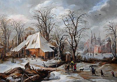 Winter Landscape After J. De Momper Poster by Leonid Polotsky