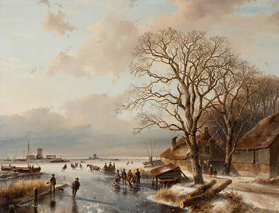 Winter Landscape Poster by Andreas Schelfhout