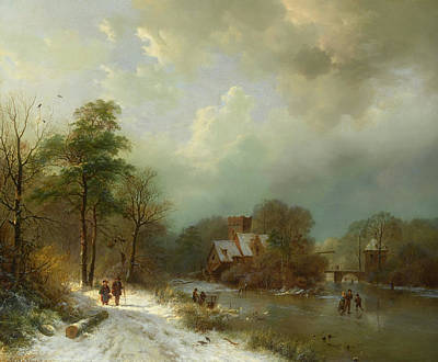 Poster featuring the painting Winter Landscape - Holland by Barend Koekkoek