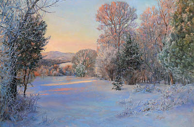 Winter Landscape In The Morning Poster