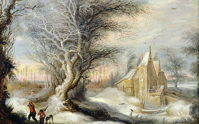 Winter Landscape With A Woodcutter Poster by Gysbrecht Lytens or Leytens