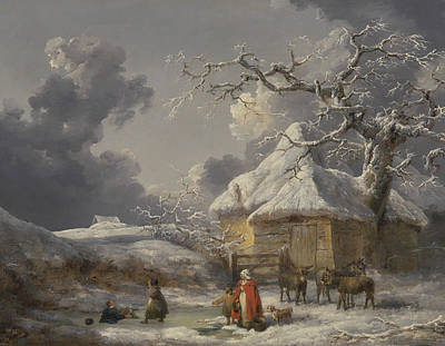 Winter Landscape With Figures Poster by George Morland