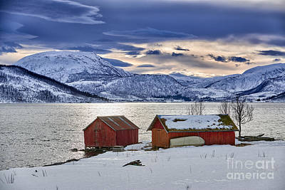 Winter Landscape With Typical Red House At Snow Covered Coast Poster by Juergen Ritterbach
