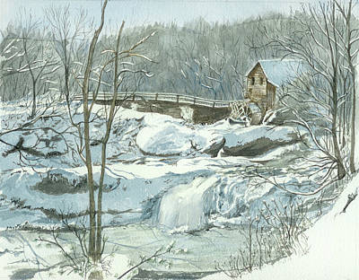 Poster featuring the painting Winter Mill by Lynn Babineau