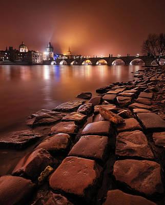 Winter Night Near Charles Bridge In Prague, Czech Republic Poster