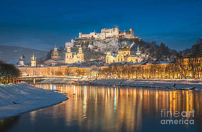 Winter Night Shot Of Salzburg Poster by JR Photography