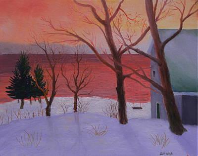 Winter Ocean Sunrise Poster