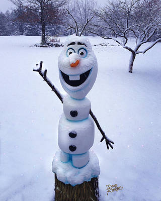 Winter Olaf Poster by Doug Kreuger