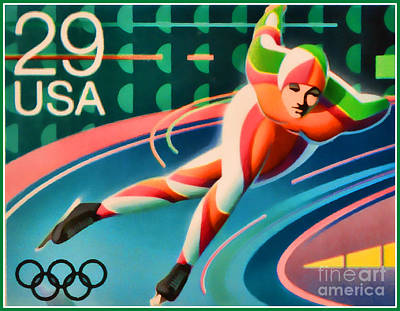 Winter Olympics - Speed Skating Poster by Lanjee Chee