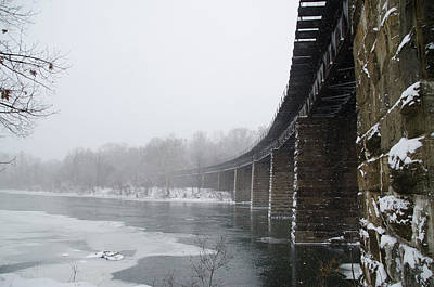 Winter - Railroad Bridge In East Falls Poster