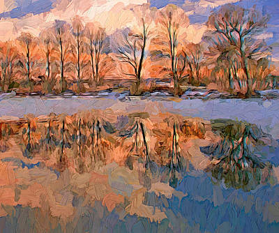Winter River Reflections Poster