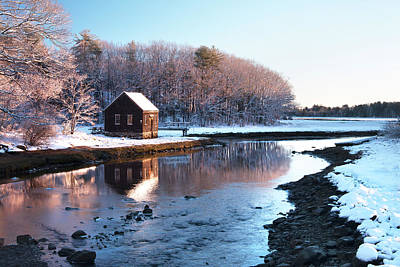 Winter Scene In Rye Nh Poster by Eric Gendron