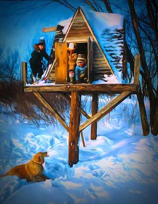 Winter Scene Three Kids And Dog Playing In A Treehouse Poster