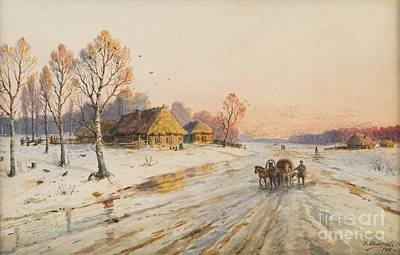 Winter Scene With Troika Poster