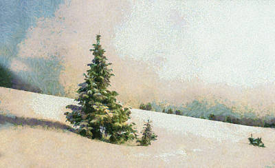 Winter Scenery Art - Pine Tree On A Snow Mountain Poster by Wall Art Prints