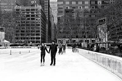 Winter Skating At Bryant Park Poster