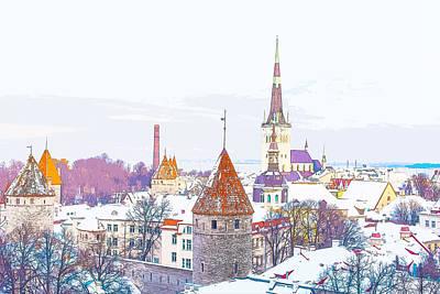 Winter Skyline Of Tallinn Estonia Poster