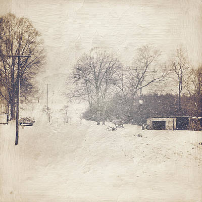 Winter Snow Storm At The Farm Poster