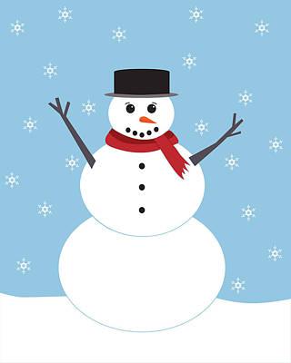 Winter Snowman Poster by Christina Steward