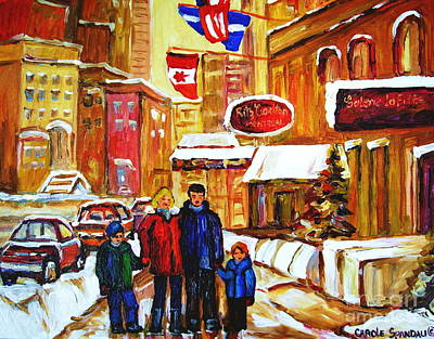Winter Stroll Along Rue Sherbrooke Montreal Downtown Winter City Scene Painting Carole Spandau Poster by Carole Spandau