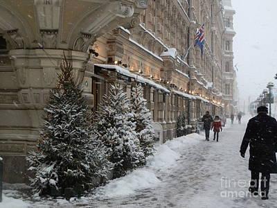 Winter Stroll In Helsinki Poster by Margaret Brooks